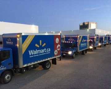 Walmart Canada trucks being dispatched from Walmart distribution centre in Mississauga.